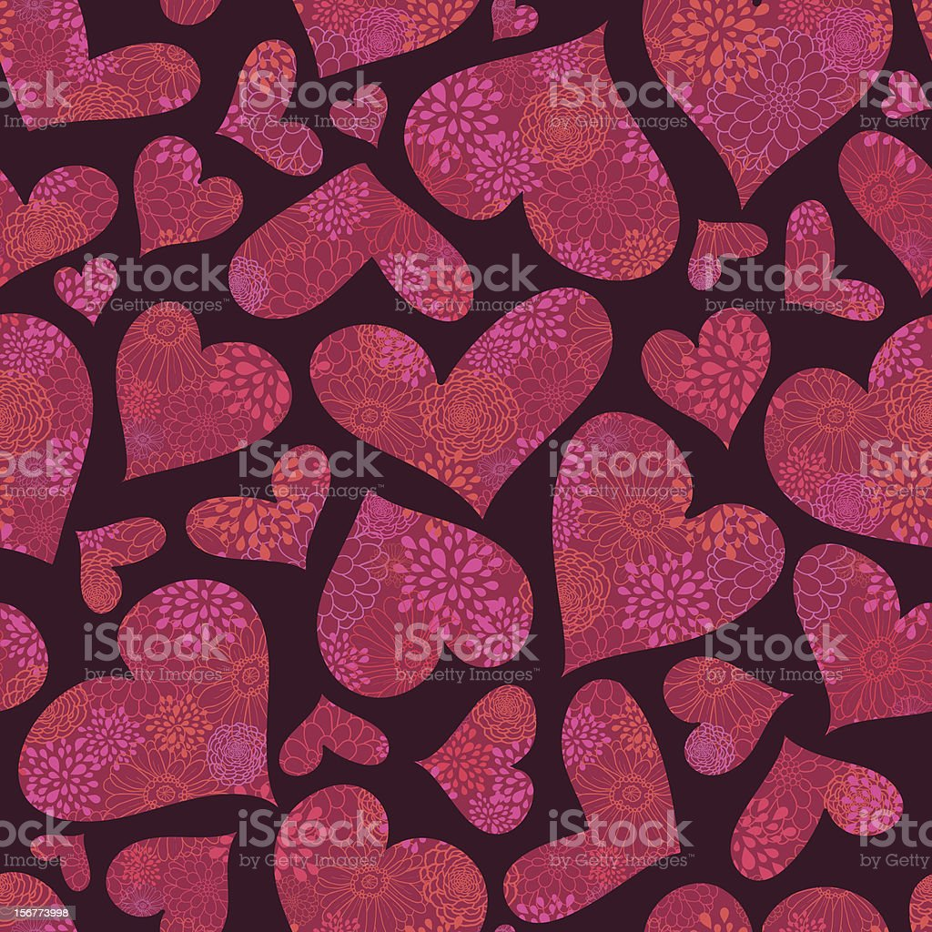 Textured Hearts Seamless Pattern Background royalty-free stock vector art