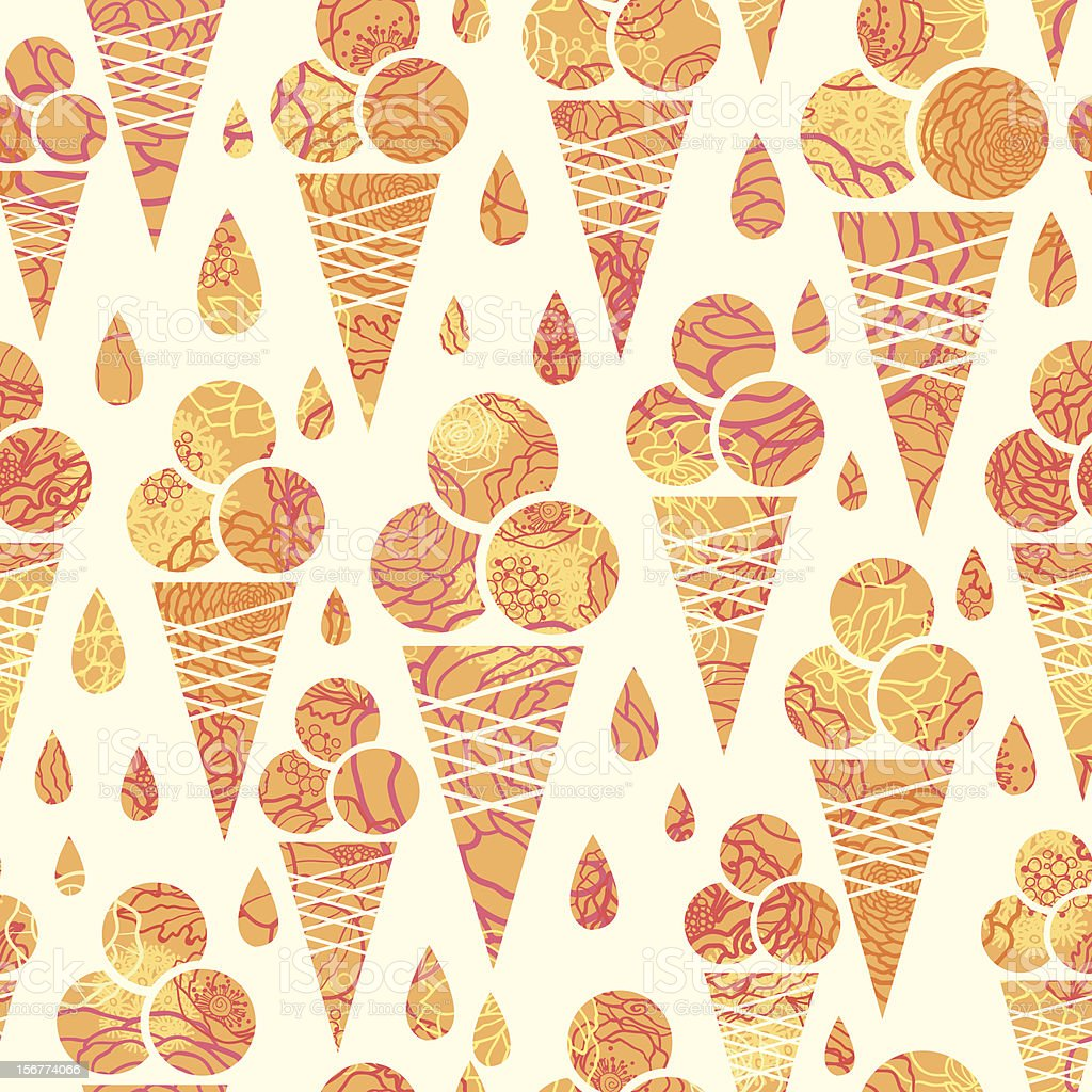 Seamless Ice Cream Wallpaper Royalty Free Stock Images: Textured Ice Cream Cones Seamless Pattern Background Stock