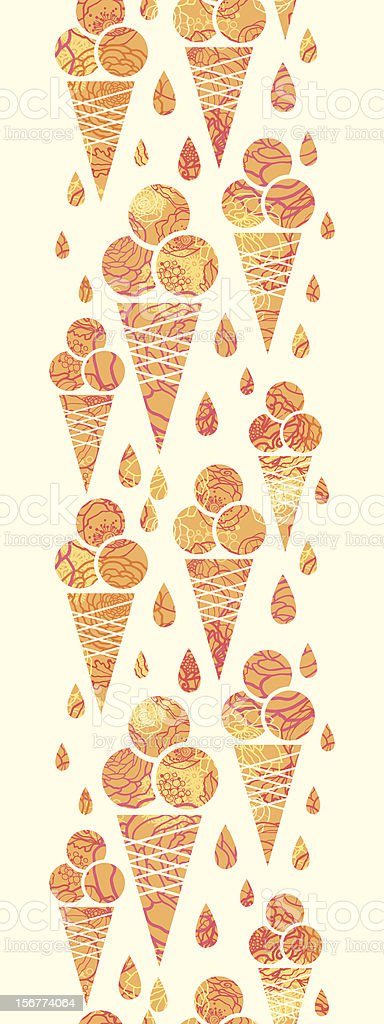 Textured Ice Cream Cones Vertical Seamless Pattern Ornament royalty-free stock vector art