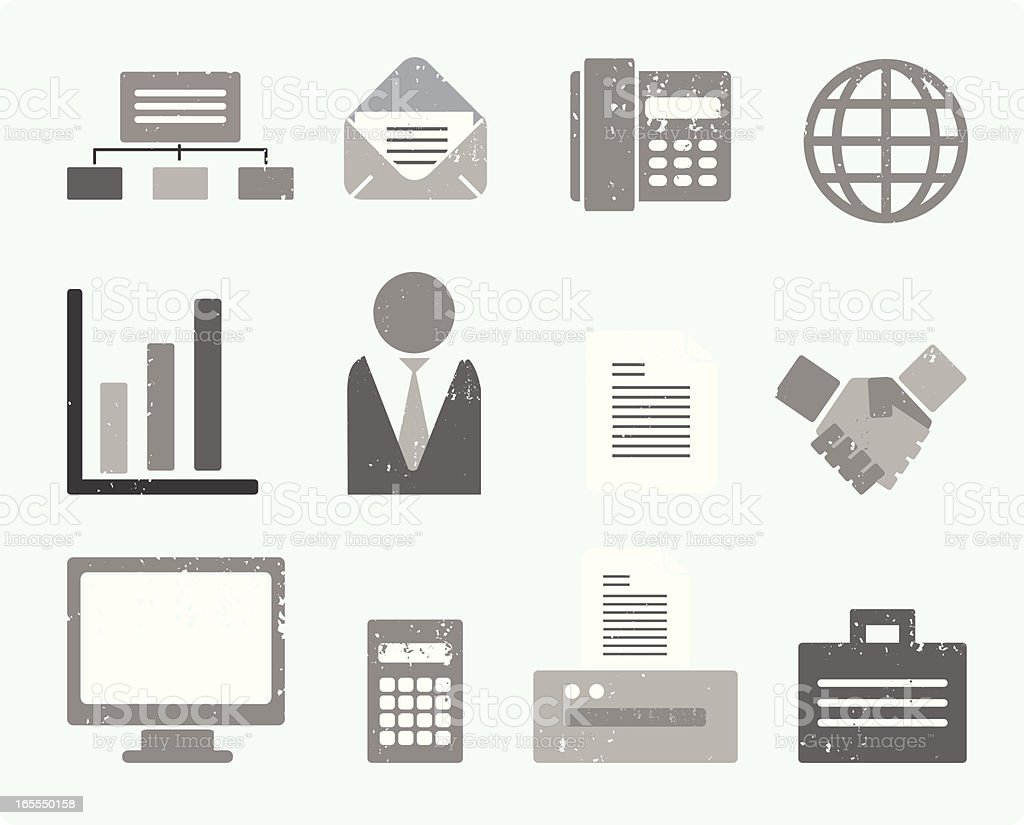 Textured Office Icons royalty-free stock vector art