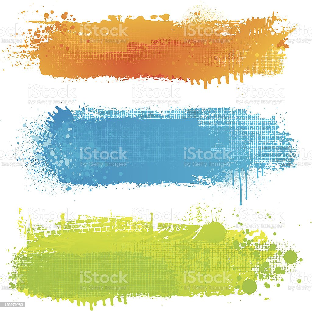 Textured paint strip backgrounds vector art illustration