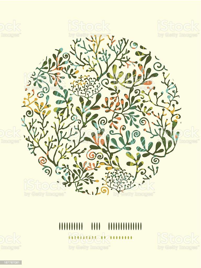 Textured Plants Circle Decor Pattern Background vector art illustration