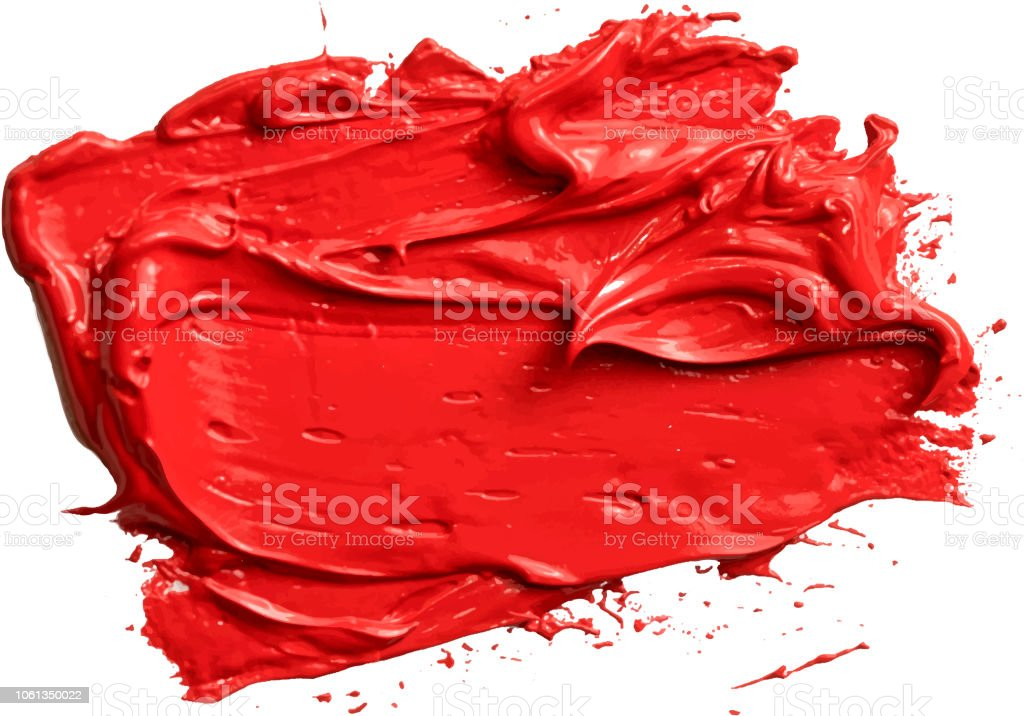 Textured red oil paint brush stroke,convex with shadows, eps 10 vector illustration isolated on transparent background vector art illustration