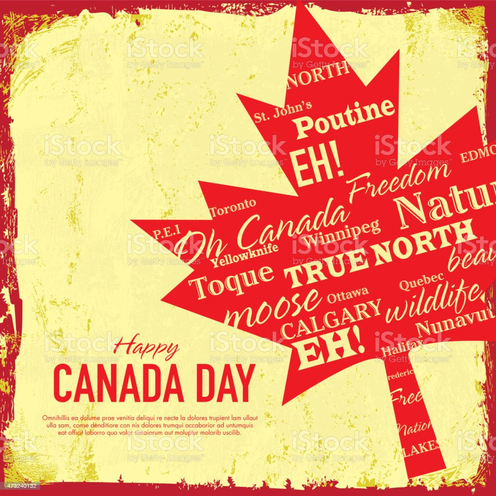 Textured Retro Happy Canada Day Celebration Greeting Card Design