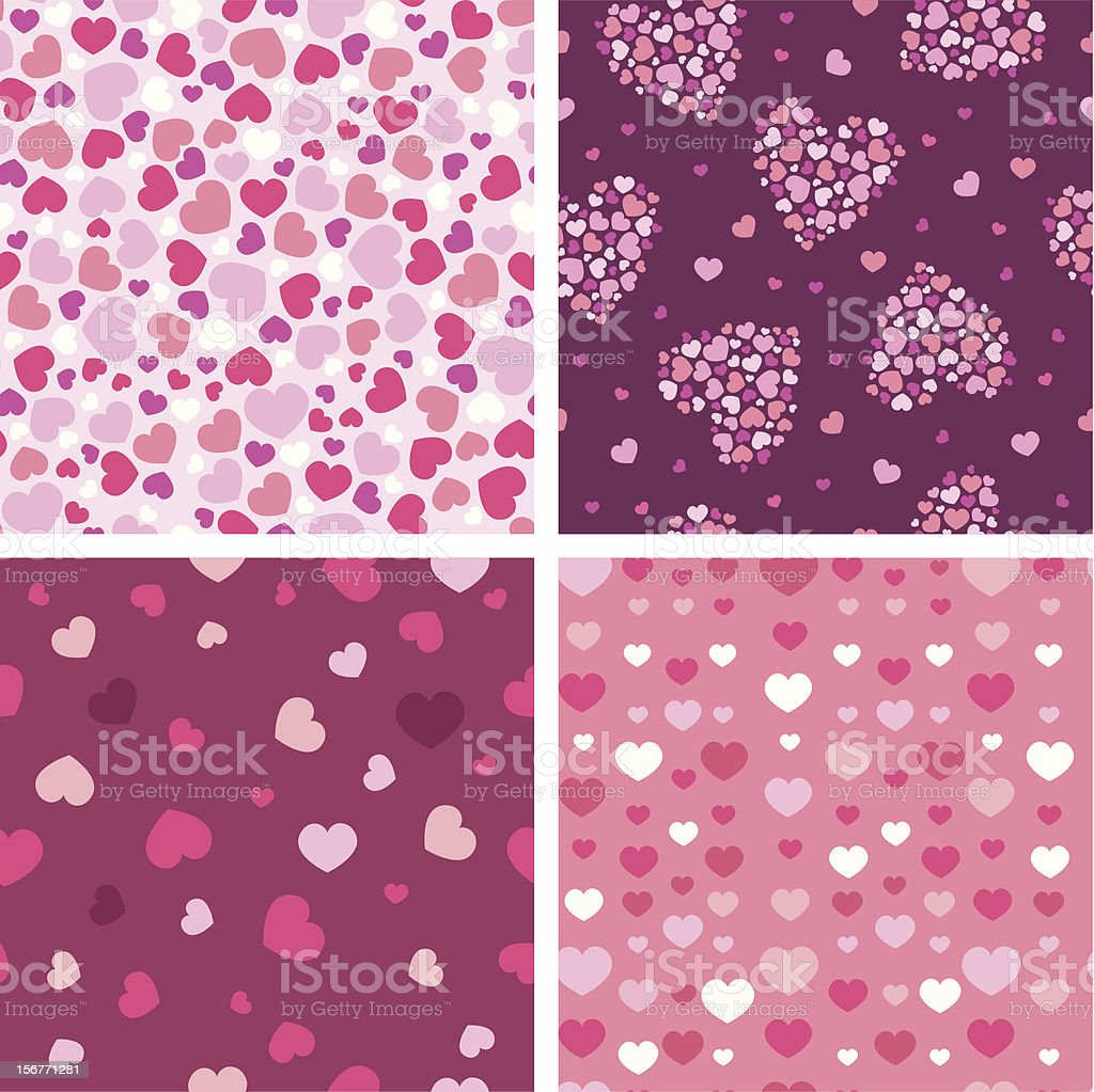 Textured Seamless Hearts Patterns Set royalty-free stock vector art