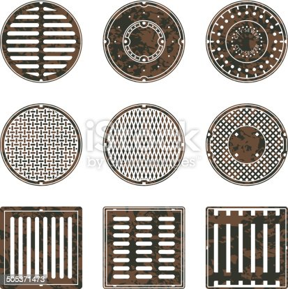 A set of textured sewer caps and grids. Includes round and square sewer grids.