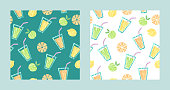 vector seamless pattern with orange slices,apples,lemons and fresh drinks