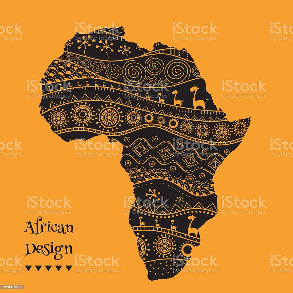 Textured vector map of Africa. Hand-drawn ethno pattern, tribal vector art illustration