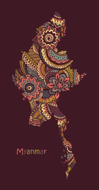 stockillustraties, clipart, cartoons en iconen met structuur vector kaart van myanmar. hand getekend etnisch patroon, tribal achtergrond. vector illustratie. - myanmar