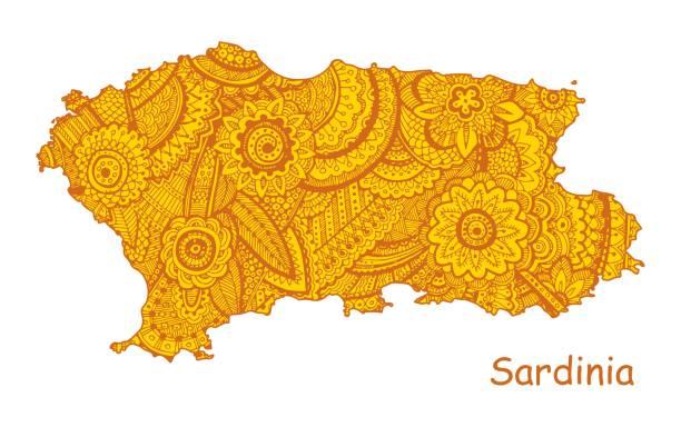 illustrazioni stock, clip art, cartoni animati e icone di tendenza di textured vector map of sardinia. hand drawn ethno pattern, tribal background. - sardegna