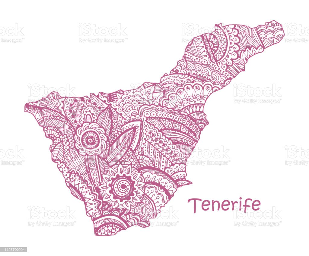 Textured vector map of Tenerife. Hand drawn ethno pattern, tribal background.