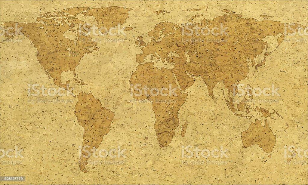 Textured world map vector art illustration