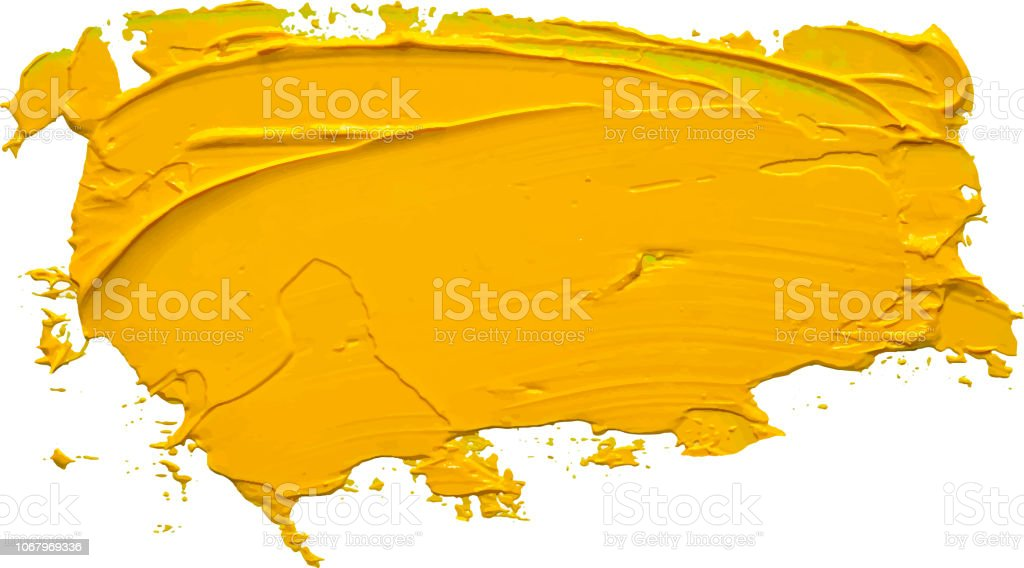 Textured yellow oil paint brush stroke,convex with shadows, isolated on transparent background. EPS 10 vector illustration. vector art illustration