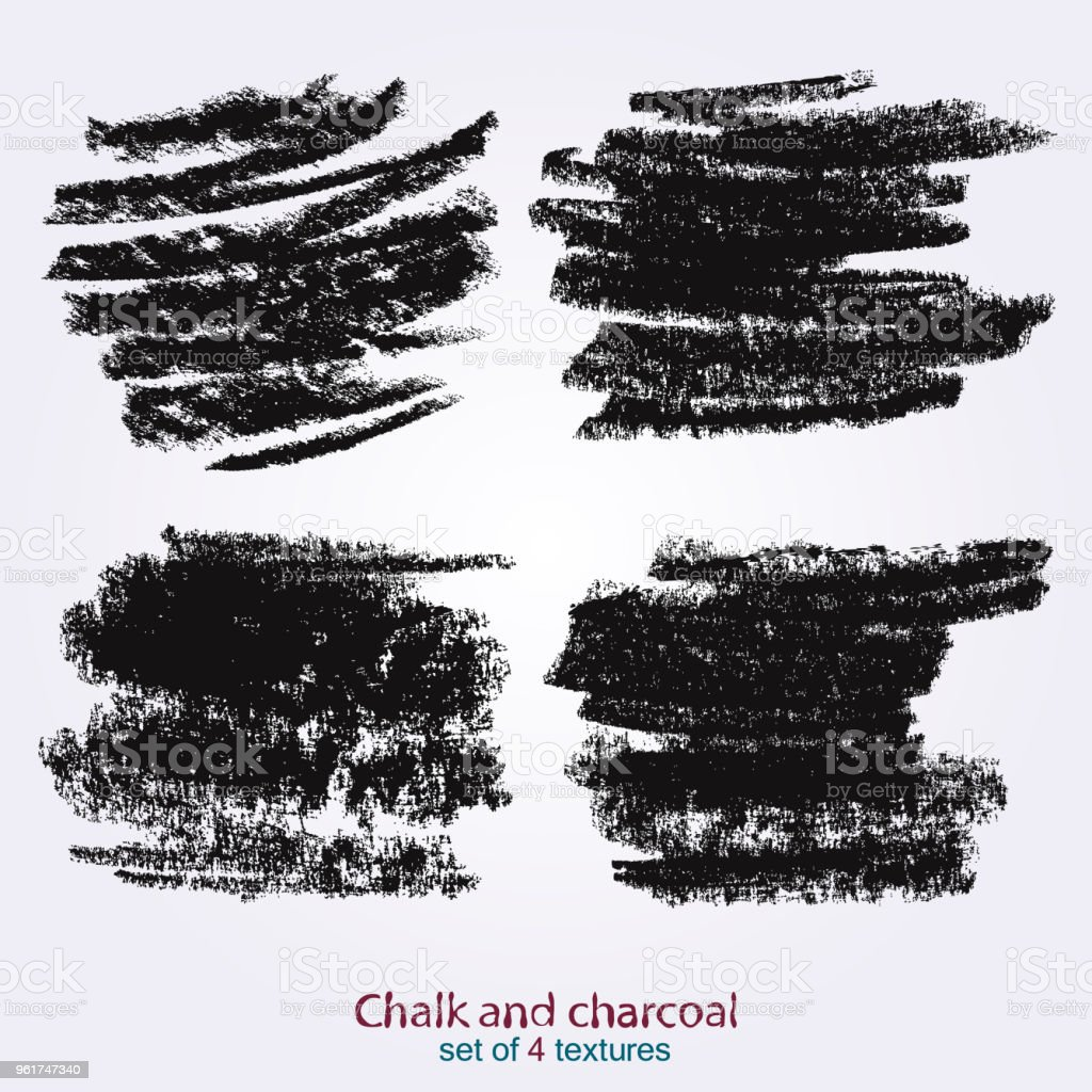 Textures Of Chalk And Charcoal Vector Brush Strokes Decorative Frame ...