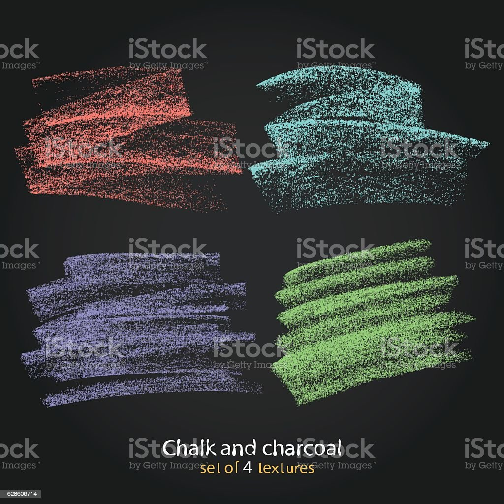 Textures strokes of chalk. Pastel colors brushes. High resolutio vector art illustration