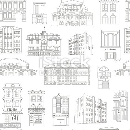 Seamless vector background with old colourful buildings for wallpaper or background designSeamless vector background with old colourful buildings for wallpaper or background design