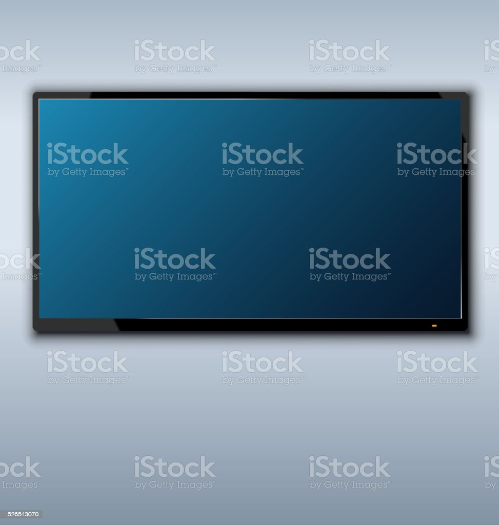 tft tv hanging on the wall background vector art illustration