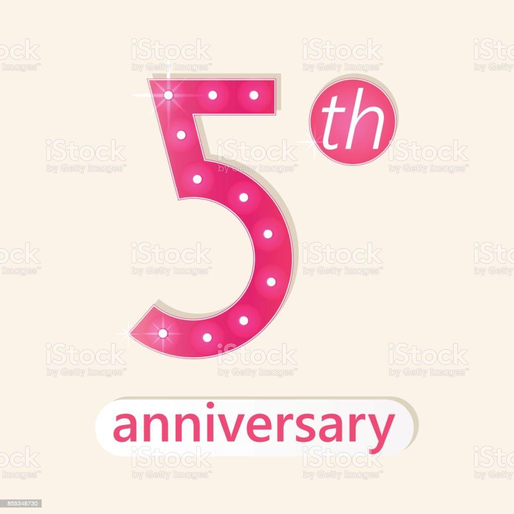 5 th anniversary poster vector art illustration