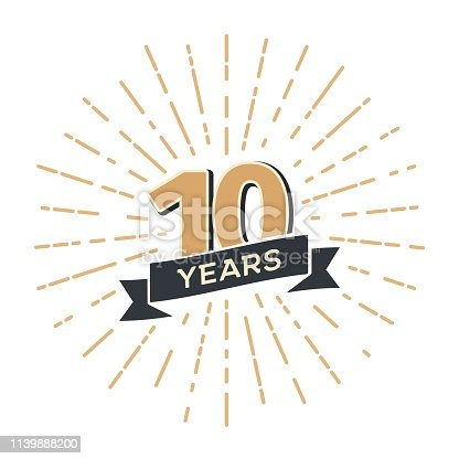 10th anniversary retro vector emblem isolated template Vintage icon tenth years with ribbon and salute