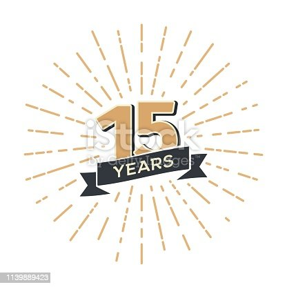 15th anniversary retro vector emblem isolated template Vintage icon Fifteen years with ribbon and salute on white background