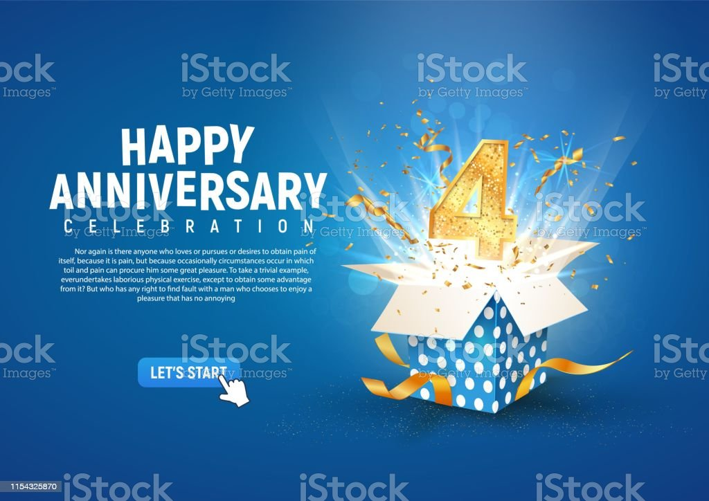 4 Th Year Anniversary Banner With Open Burst Gift Box Template Fourth Birthday Celebration And Abstract Text On Blue Background Vector Illustration Stock Illustration Download Image Now Istock