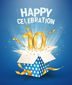 10th years anniversary and open gift box with explosions confetti Template tenth birthday celebration on blue background vector Illustration