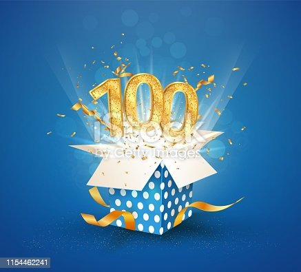100th years anniversary and open gift box with explosions confetti Isolated design element Template hundredth birthday celebration on blue background vector Illustration