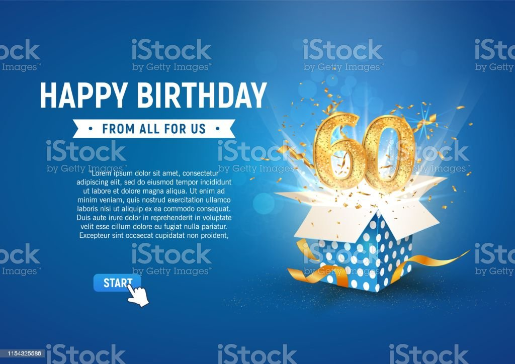 Download 60 Th Years Anniversary Banner With Open Burst Gift Box ...