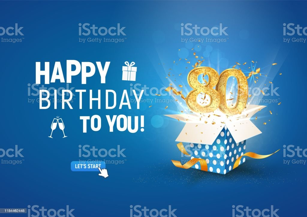 Download 80 Th Years Anniversary Banner With Open Burst Gift Box ...