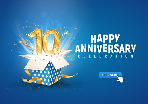 10 th years anniversary banner with open burst gift box. Template tenth birthday celebration and abstract text on blue background vector illustration.