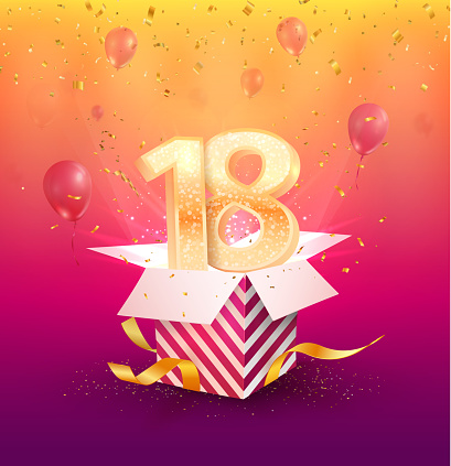 18 th years anniversary vector design element. Isolated Eighteen years jubilee with gift box, balloons and confetti on a bright background.