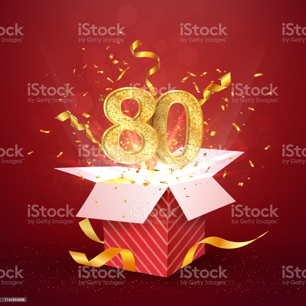 Download 80 Th Years Number Anniversary And Open Gift Box With ...