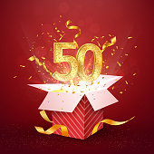 50th years number anniversary and open gift box with explosions confetti isolated design element Template fifty fiftieth birthday celebration on red background vector Illustration