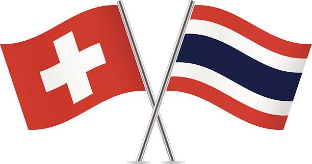 Thailändische und Schweizer flags.  Vektor. – Vektorgrafik