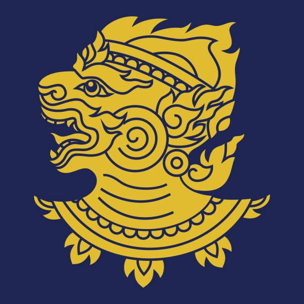 Thai art design, Hanuman monkey head vector EPS 10 hanuman stock illustrations