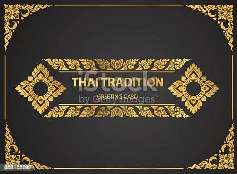 istock Thai art element Traditional design gold for greeting cards,book cover.vector 853155092