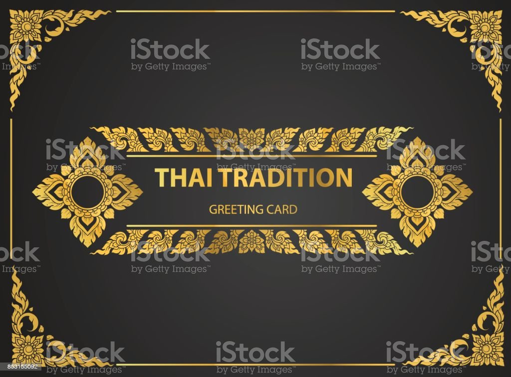 Thai art element Traditional design gold for greeting cards,book cover.vector vector art illustration