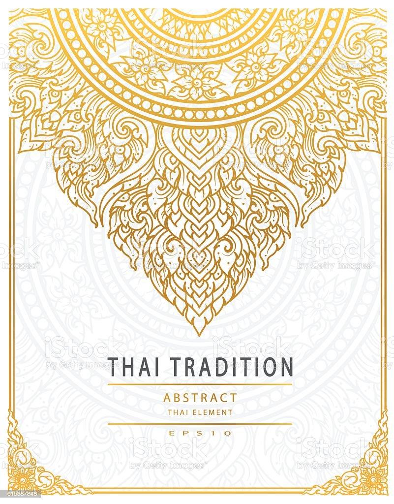 Thai art element Traditional gold cover vector art illustration