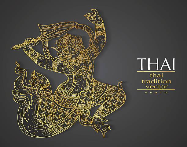 Thai art element Traditional gold for greeting cards Thai art element Traditional gold for greeting cards hanuman stock illustrations
