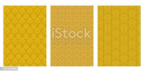 istock Thai Art Leaf, Flame Stripe Abstract Vector Background Collection 1201600384