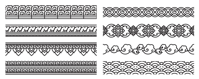 Thai art line seamless borders. Old lace patterns.