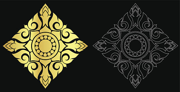 stockillustraties, clipart, cartoons en iconen met thai art style ornament black color and out line - cambodja