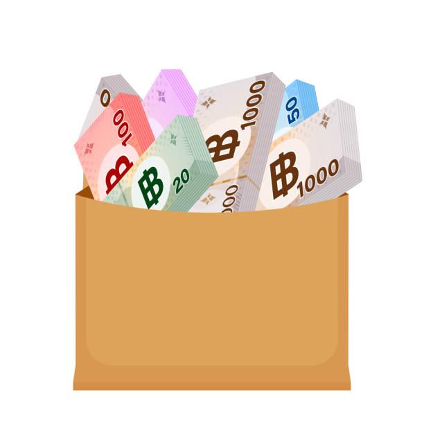 stockillustraties, clipart, cartoons en iconen met thai baht bankbiljet geld in zak papier geïsoleerd op wit, thaise valuta bankbiljet thb veel in de zak papier bruin, geld thailand baht voor pictogram, illustratie papier geld met b-symbool grafisch - thaise munt