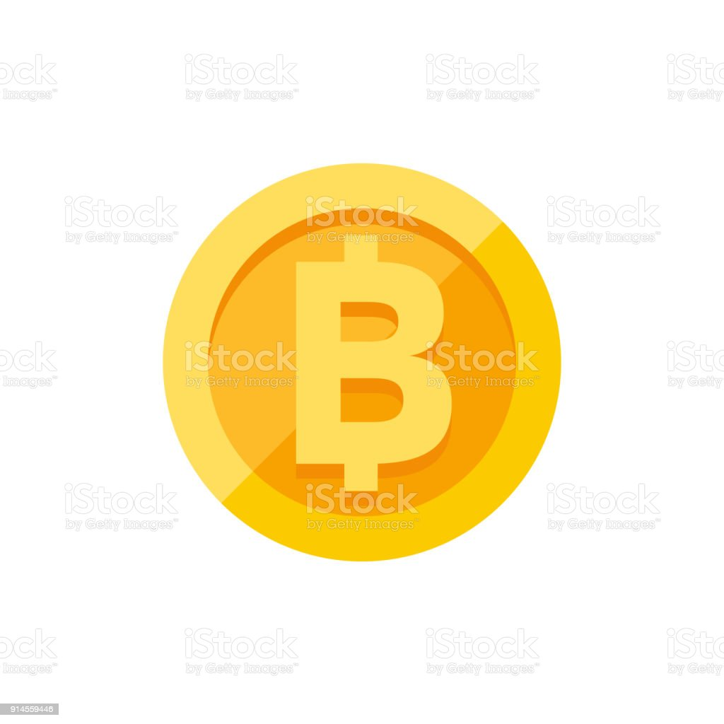 Thai baht currency symbol on gold coin flat style vector art illustration