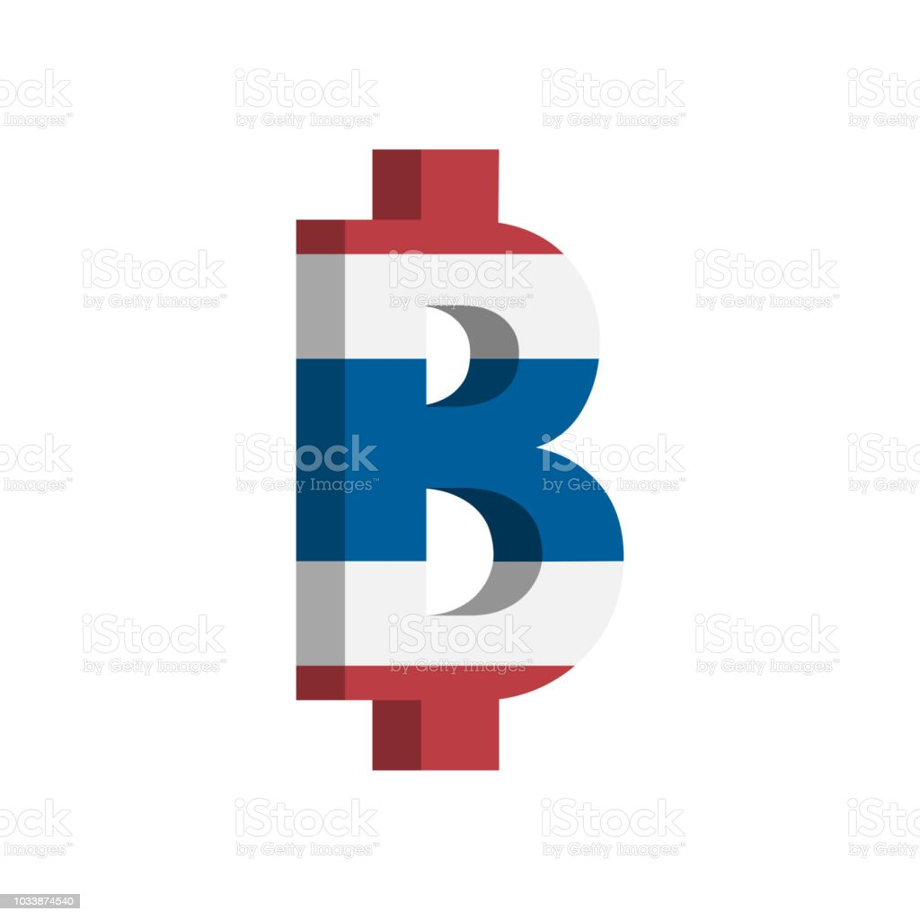 Thai Baht Currency Symbol With Flag Vector Stock Vector Art More