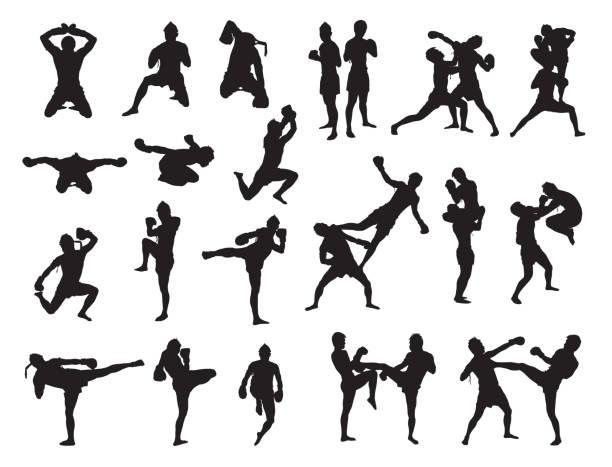 stockillustraties, clipart, cartoons en iconen met thai boxing fight traditional - kickboksen