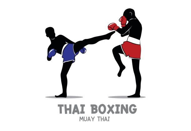 stockillustraties, clipart, cartoons en iconen met thai boxing (muay thai) - kickboksen
