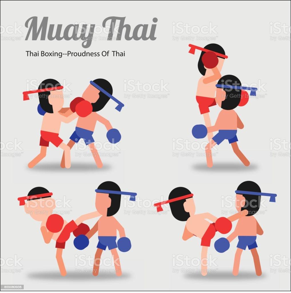 Vetores De Muay Thai Arte De Tailandes Em Desenhos Animados Agindo