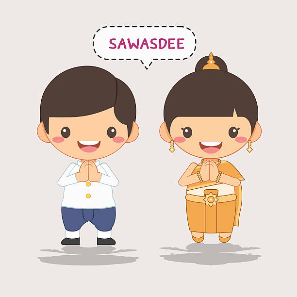 thai costume, sawasdee - songkran festival stock illustrations, clip art, cartoons, & icons