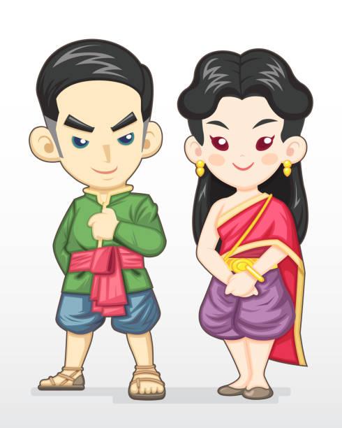 thai paar in tracht abbildung - ayutthaya stock-grafiken, -clipart, -cartoons und -symbole